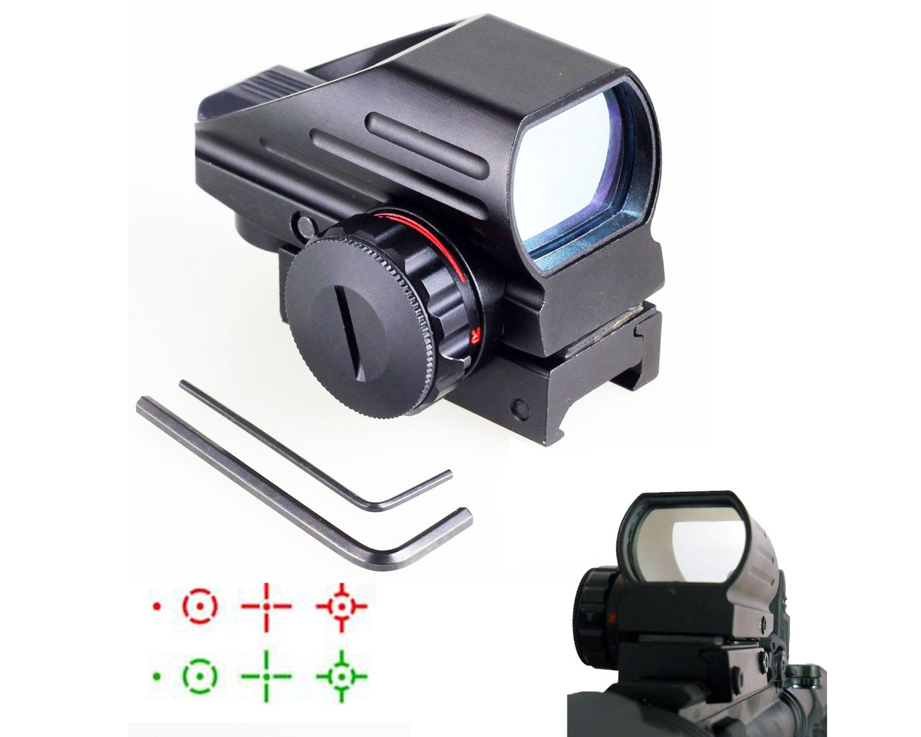 Holographic Red and Green Dot Sight Tactical Reflex 4 Reticles