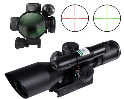 Riflescope with Green Laser Dual illuminated Mil-dot w/ Rail