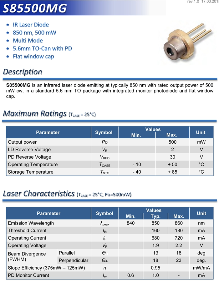 S85500mg 850nm 500mw Multi Mode Top 5 6 Laser Diode High