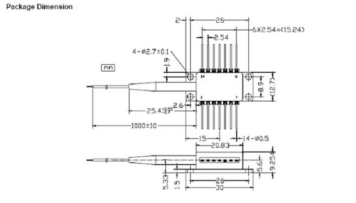 1310nm 14 Pin Butterfly Laser With Driver High Power