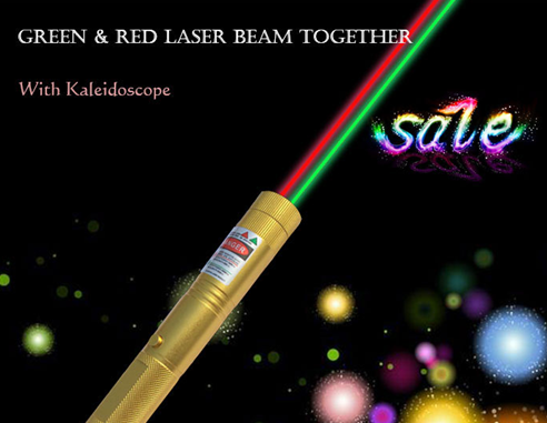 Green&Red laser beam together disco laser pen with Kaleidoscope
