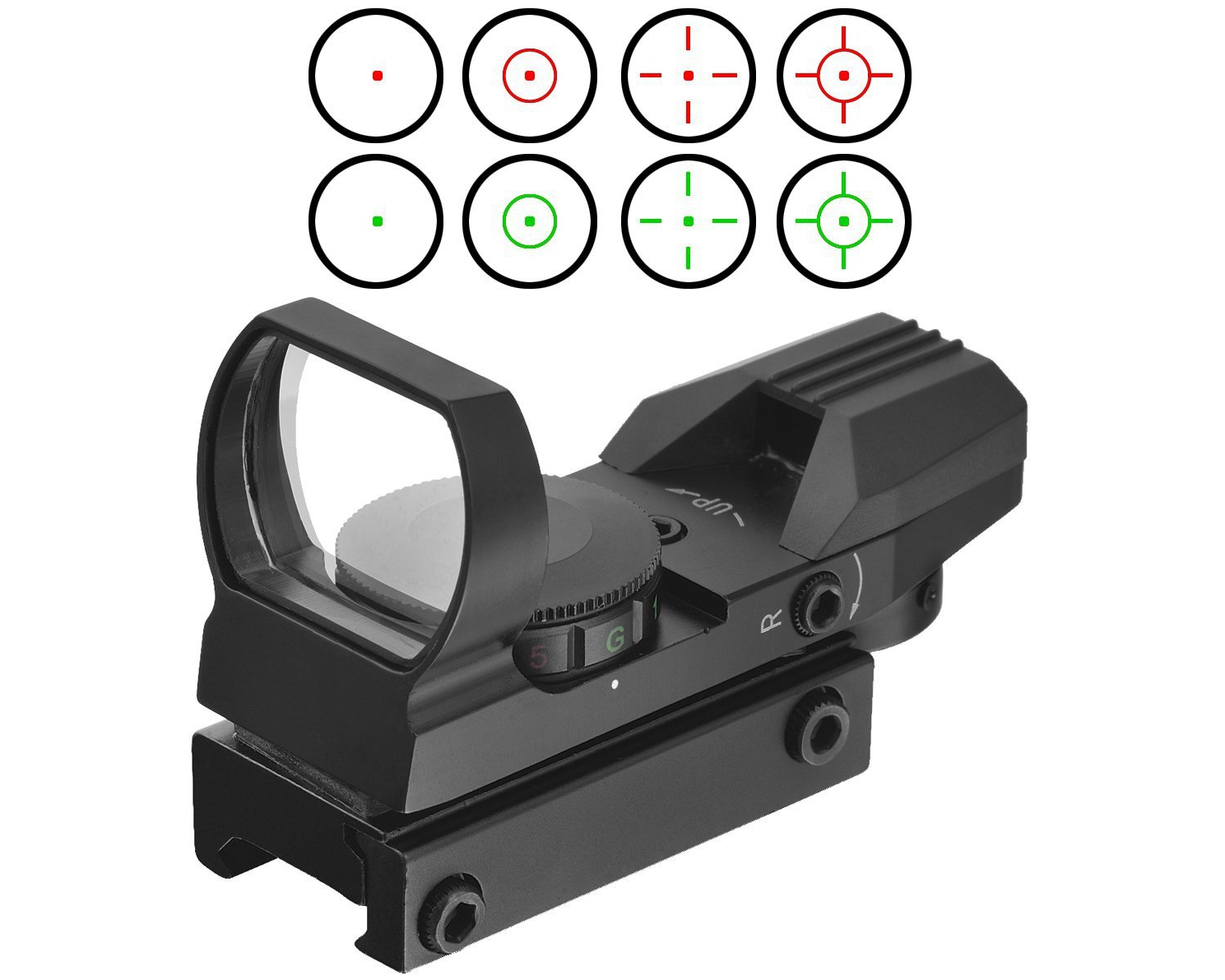 Tactical 4 Reticle Red Dot Open Sight Rail Mount